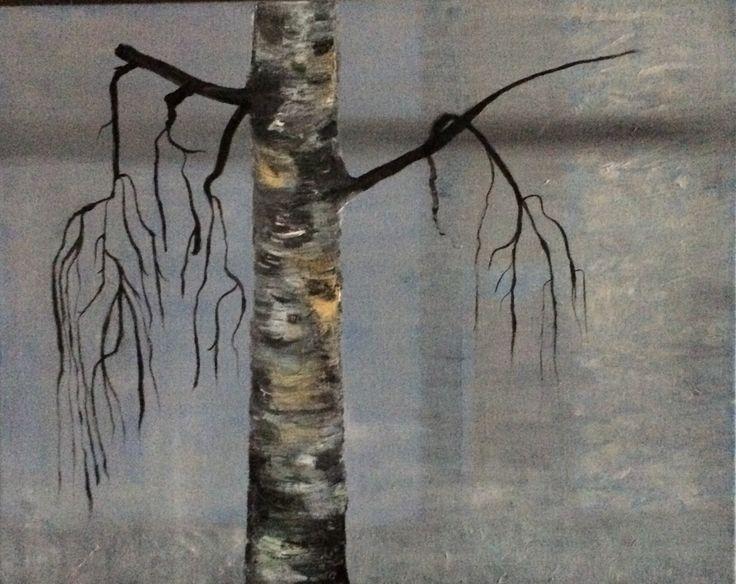 Birch Tree, Oil on canvas, 40 x 40