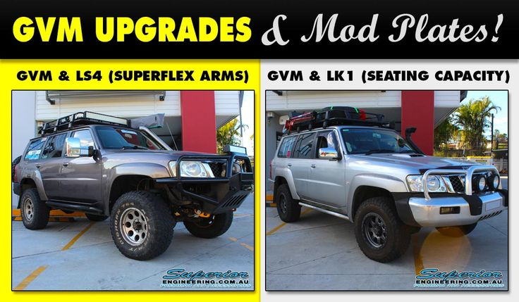 The latest round of GVM upgrades and Mod Plating has just been completed at the Superior Engineering Deception Bay 4x4 workshop.  1. GVM upgrade and a LS4 mod plate for Superflex Radius Arms.  2. GVM upgrade and a LK1 mod plate for change of seating capacity.  Book NOW as spots sell out fast!  #GVM #4x4 #Nissan #GUPatrol #NissanPatrol #ModPlating #SuperiorEngineering