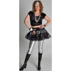 Déguisement années 80-90 femme, Déguisement disco ou rock star femme, Déguisement jupe années 80 noire argent velours chic et dentelle femme luxe