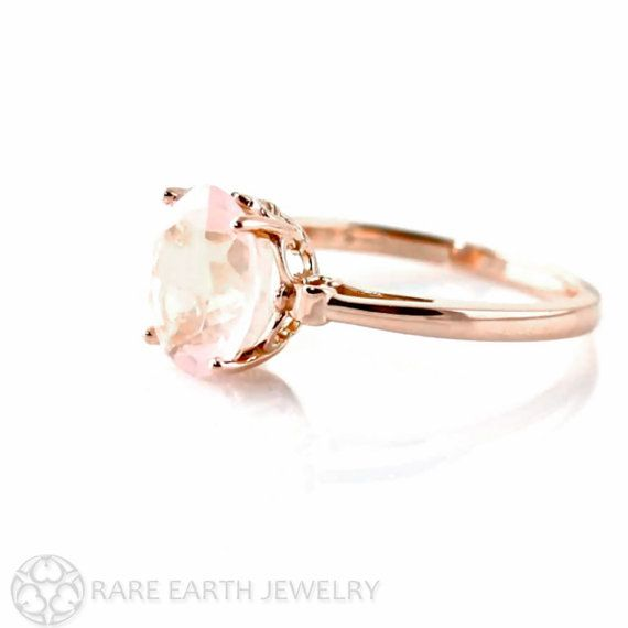 A pretty natural Rose Quartz ring in your choice of 14K white, yellow or rose gold. There are 2.45 carats of Rose Quartz, expertly faceted into an 10 x