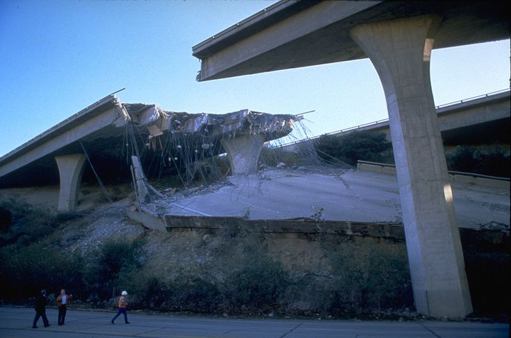 1994_Northridge_earthquake . . Damaged portion of the Golden State Freeway at Gavin Canyon.