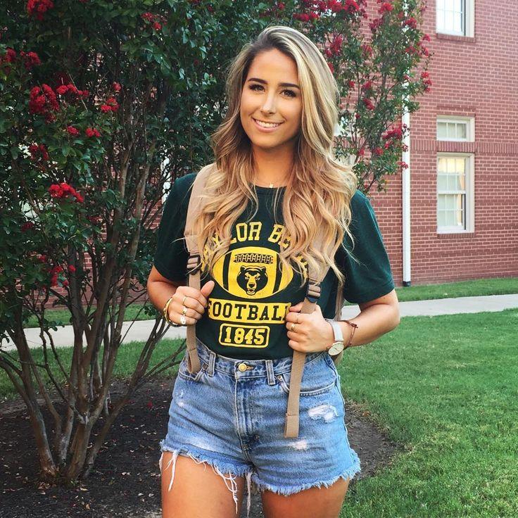Baylor football T-shirt + high waisted shorts