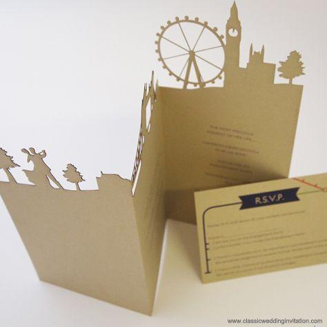 London Wedding Stationery with laser cut details, laser cut wedding invitation