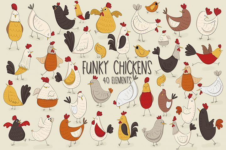 Funky Chickens | Chicken clip art, Graphic design ...