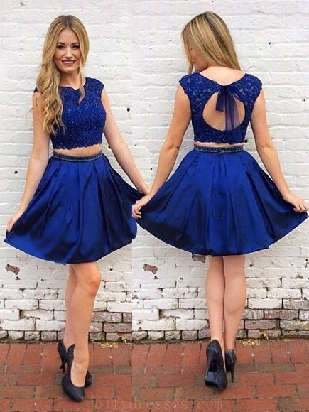 9d2c6f96adc Cute A Line Two Piece Round Neck Open Back Royal Blue Lace Short Homecoming  Dresses with Beading