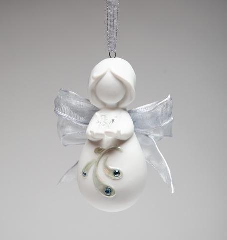 white praying angel ornament