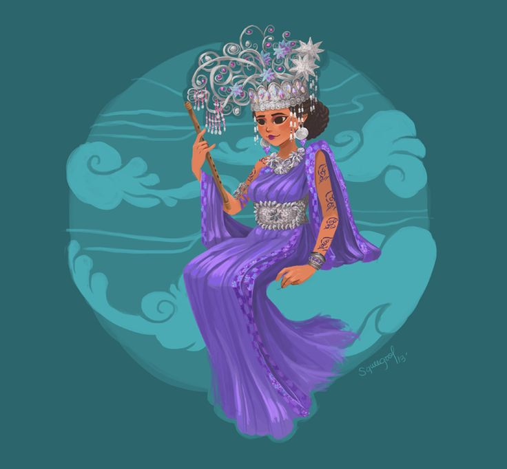 Alunsina (Philippines) - regarded as the goddess of the eastern skies that brings in the light of the sun and cool winds during hot days of the dry season; she is also the guardian against strong typhoons and of beauty.