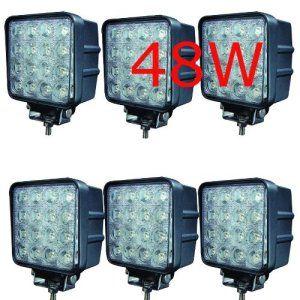 Miracle Lot de 6 lampes LED 48W projecteurs spots idéal pour véhicule tout-terrain, chantier, phares anti-brouillard de camion, Jeep,…