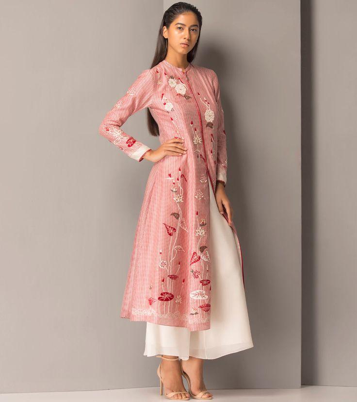 Red Chanderi #Long #Jacket