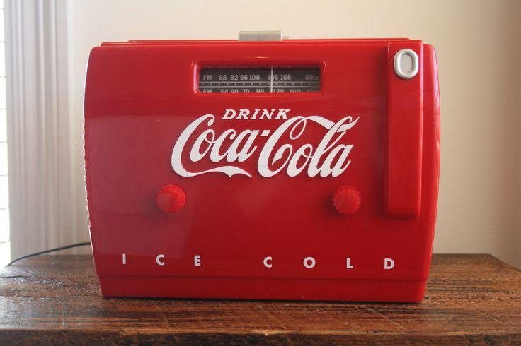 Retro Coca Cola Coke Cooler radio Cassette player / AM/ FM radio