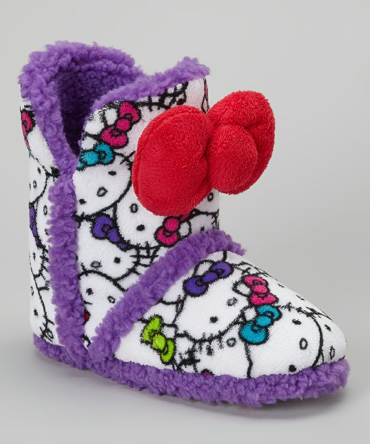 HK |❣| HELLO KITTY Purple & White Boot Slipper - Women