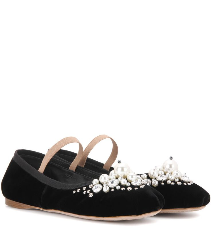 Miu Miu - Embellished velvet ballerinas - Miu Miu takes the humble ballerina  to the next