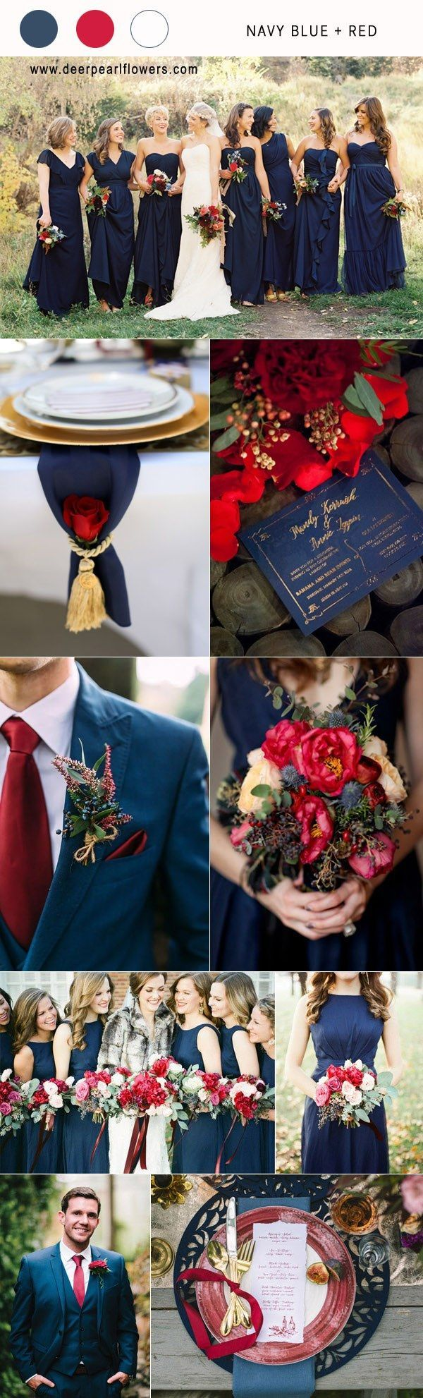 navy blue and red fall wedding color combo ideas for 2018 #blueweding #weddingcolors #weddingideas / http://www.deerpearlflowers.com/navy-blue-wedding-color-combo-ideas/ #WeddingIdeasColors