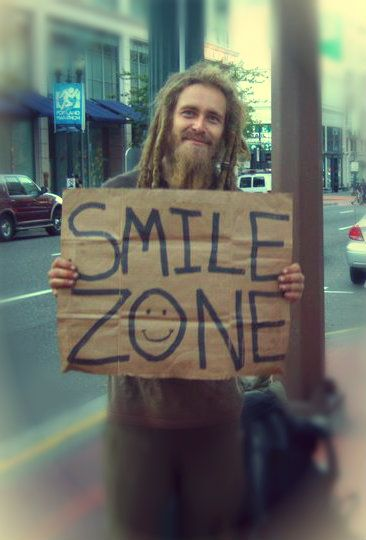 """thebrightstarsisee:    """"Dont give me money just your smiles"""" Homeless guy I met in portland      (via imgTumble)"""