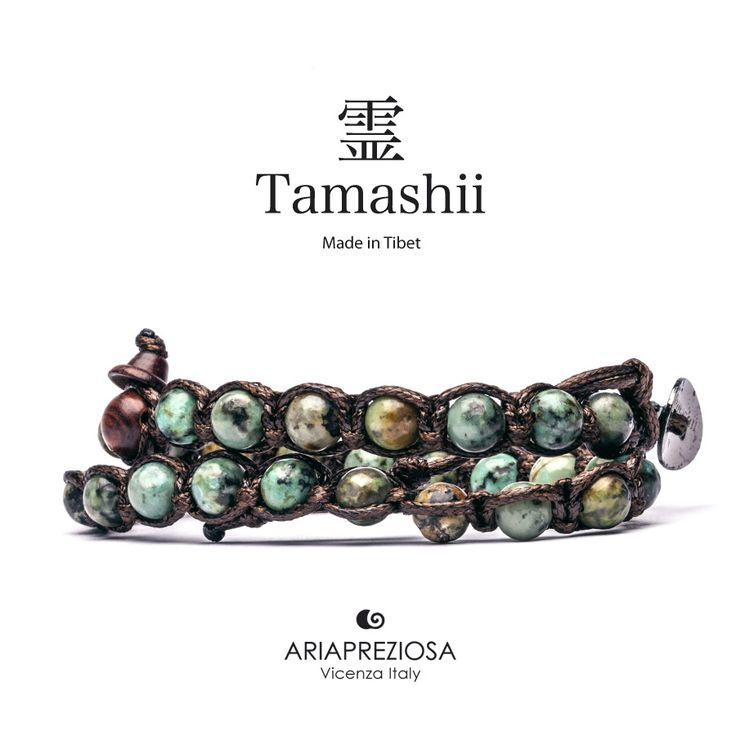 Tamashii - Bracciale Lungo Tradizionale Tibetano 2 giri Turchese Africano