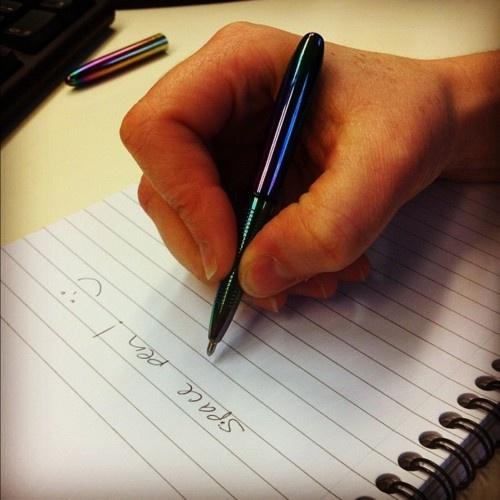 #TodayInTheMuseum @nicola1pr got a fisher space pen!! Also known as the zero gravity pen