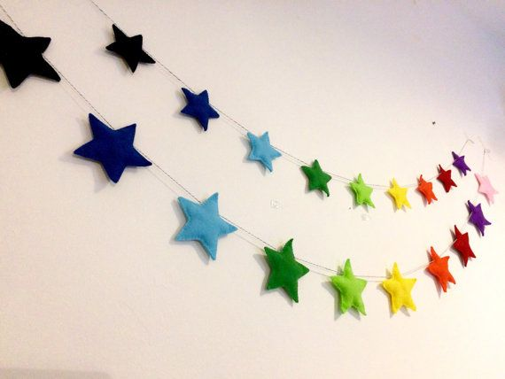 Handsewn felt star garland with 10 felt stars, available in small or large. Small stars are approx 8.5cm on a 1.6m length. Large stars are approx. 11cm on a 1.9m length. The garland is also available with felt hearts. Both styles are made to order and can be made in any colour. If you would like to customise your colours please specify at checkout and we will contact you to confirm shades. This would look great in a nursery, living room, bedroom, hanging outdoors or anywhere else you fancy…