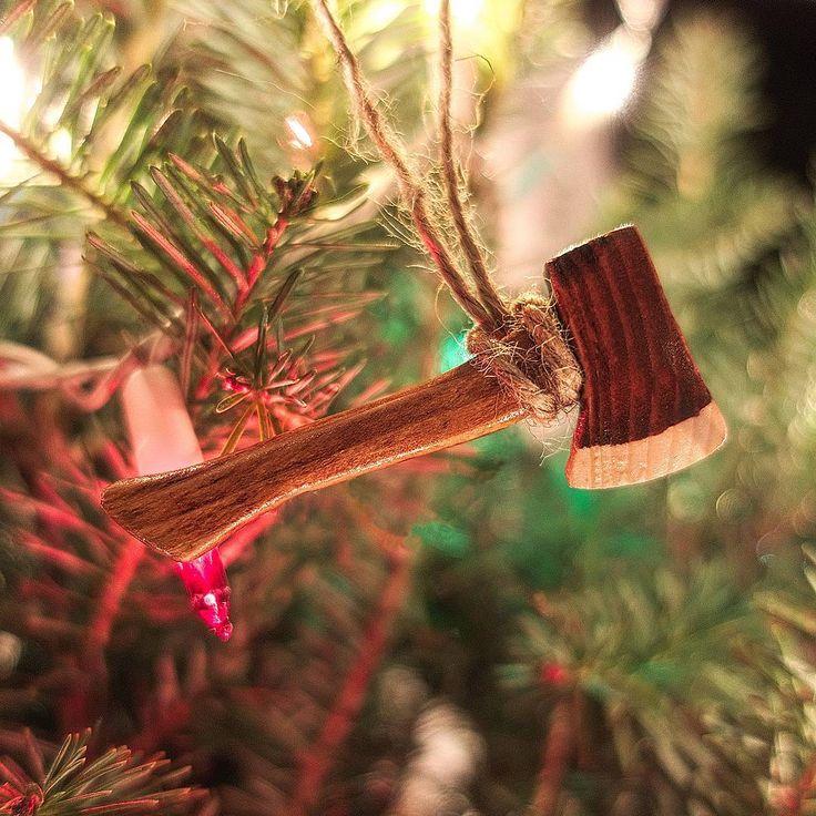 Miniature Wooden Lumberjack Axe Christmas Tree Ornament