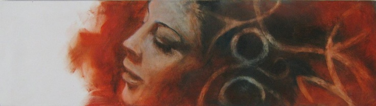 25x90 cm oil on canvas {figurative #expressionist art female red head #impasto woman face portrait painting #loveart}