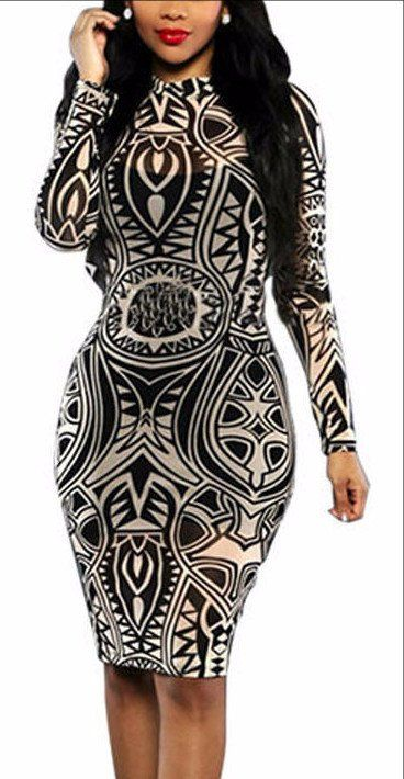 New 2016 Summer Vintage Long Sleeve Print Party Dresses Retro Plus Size Women Clothing Casual Bodycon Dress