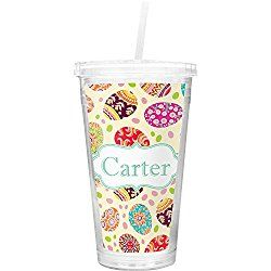 Easter Eggs Double Wall Tumbler with Straw (Personalized)