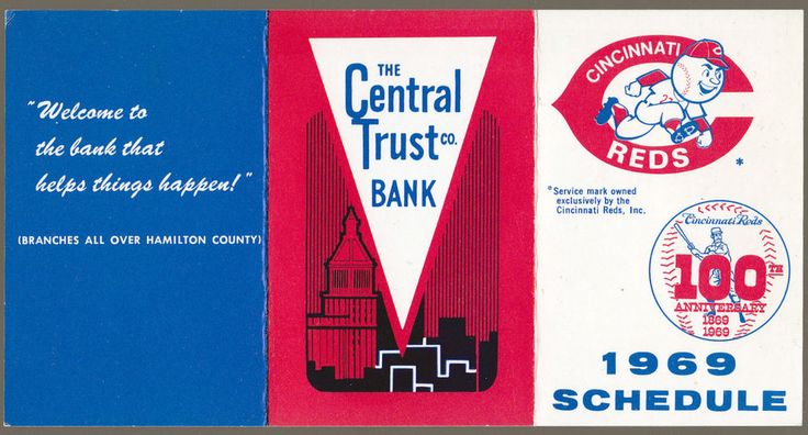 1969 CINCINNATI REDS CENTRAL TRUST BANK BASEBALL POCKET SCHEDULE EX+NM CONDITION #Pocket #Schedule