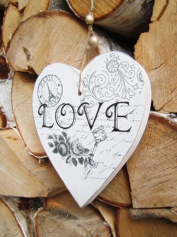 Wooden white heart