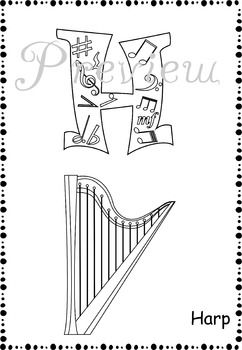 music alphabet coloring pages - Triangle Instrument Coloring Page
