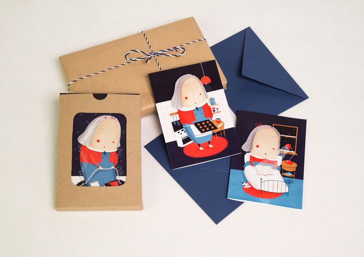 A set of hand-made Christmas cards with envelopes