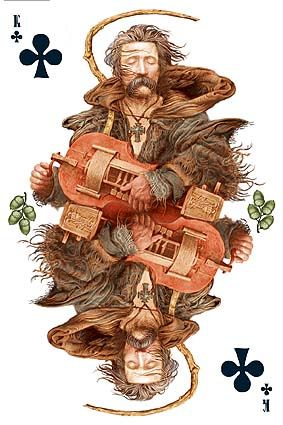 Ukrainian playing cards. Maybe my favourite from this deck because he is playing a donskoy ryley, (Russian: Донской рылей)  a stringed musical instrument from Russia. It is a type of hurdy gurdy, where the strings are constantly bowed by a wheel which is turned using a crank, and the pitch of the strings changed by keys attached to sliding tangents. How COOL!