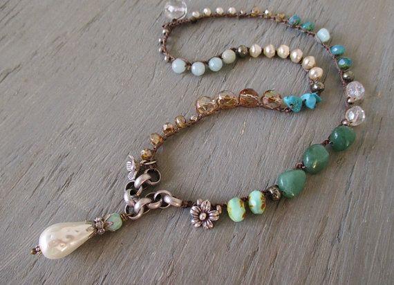Pearl boho crochet necklace  Bohemian Belle  cottage by slashKnots, $140.00