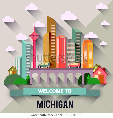 Michigan - Flat design city vector illustration - stock vector