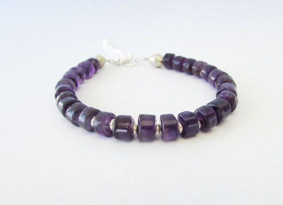Amethyst Rondelles Bracelet Gemstones Beaded by BlueMargarita