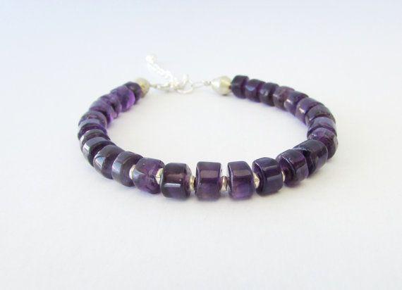 Amethyst Rondelles Bracelet Gemstones Beaded by BlueMargarita