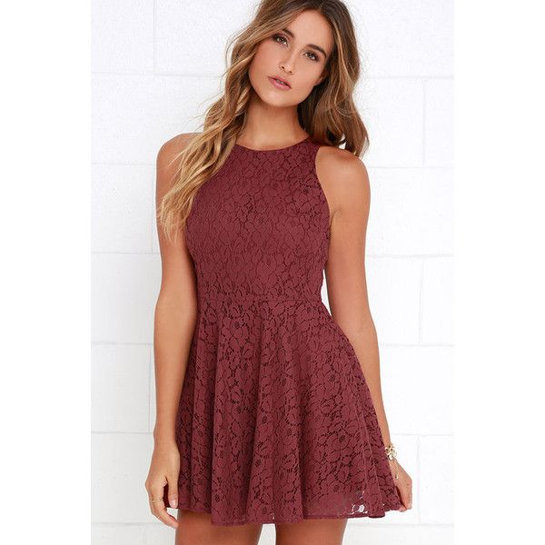 Lucy Love Hollie Jean Maroon Lace Skater Dress ($79) ❤ liked on Polyvore featuring dresses, red, red dress, red lace dress, red floral dress, skater skirt dress and fit and flare dress