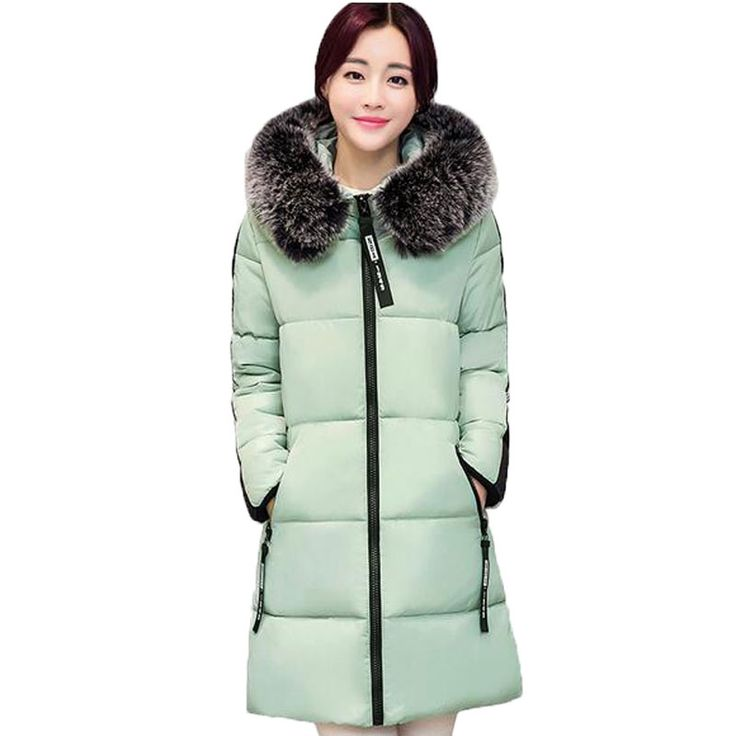 new 2016 winter warm down Cotton jacket Women Faux fur collar Thick Slim hooded plus size Long down jacket Coat AE680 #>=#>=#>=#>=#> Click on the pin to check out discount price, color, size, shipping, etc. Save and like it!