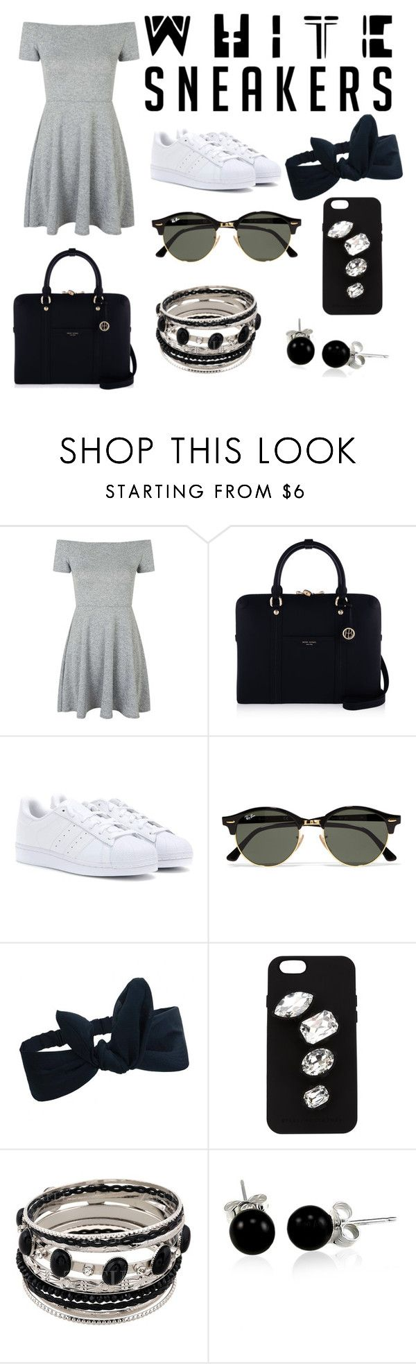 """Look of White Sneakers- White,  Black and Grey"" by gabydesigner on Polyvore featuring Topshop, Henri Bendel, adidas, Ray-Ban, STELLA McCARTNEY and Bling Jewelry"