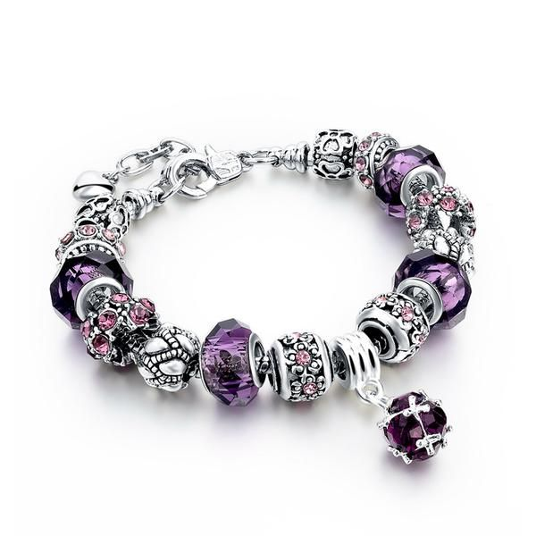 Colorful Crystal Ball | Silver Plated + Austrian Crystals + Murano Beads | 3 Styles