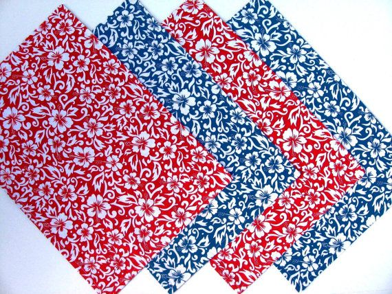Tropical Placemats - Reversible - Set of 4 - Floral Placemats - Summer Placemats - Red - Blue