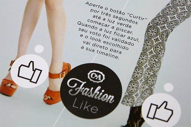 Offline Kommunikation C&A setzt auf eine interaktive Printanzeige, welche die Offline und Social Media Welt miteinander verbindet.