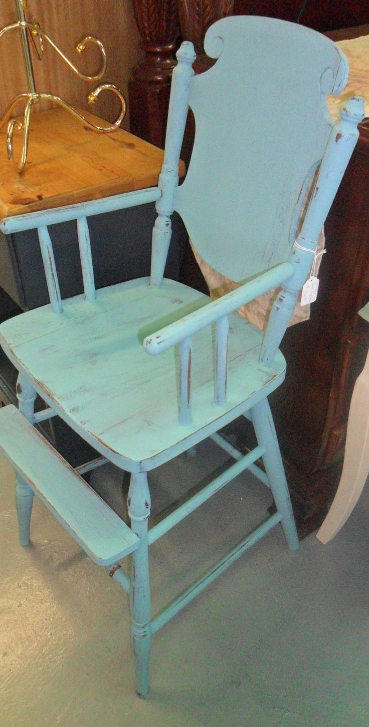 Painted wood high chair - Painted Vintage Wood High Chair Painted With Wise Owl Chalk Paint Available Curiosity Shop