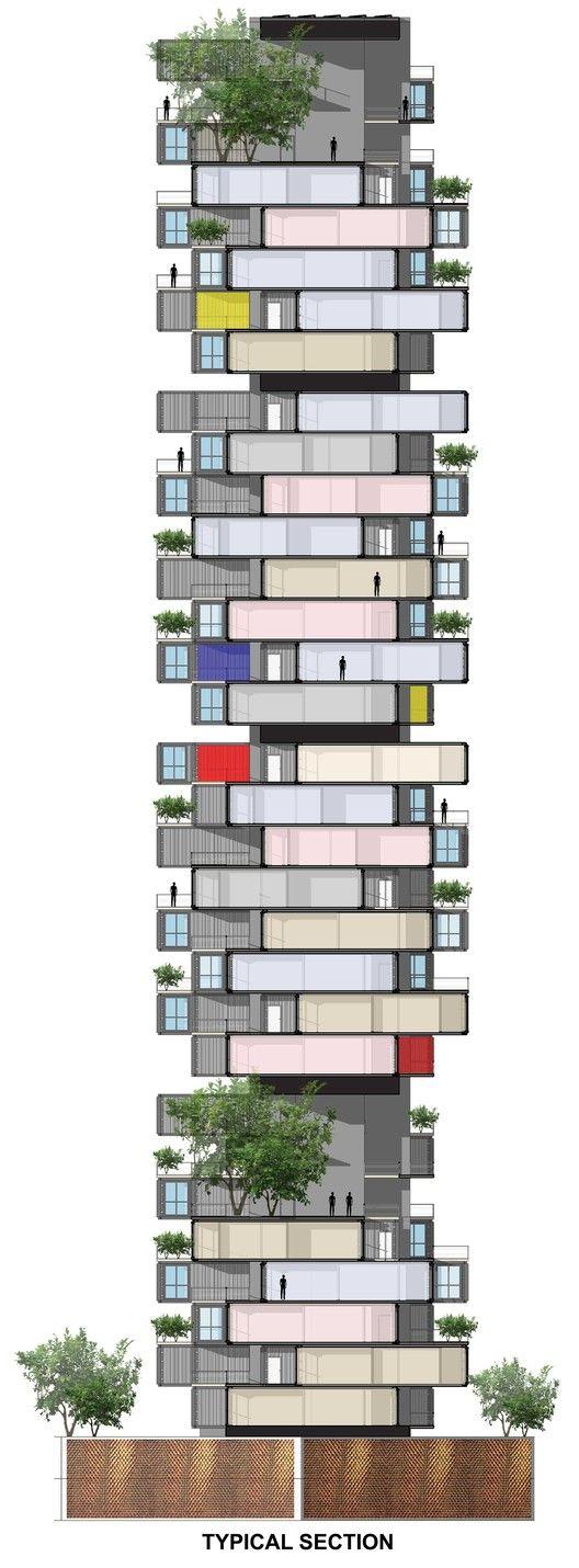GA propõe arranha-céu de containers para favela em Mumbai,Corte. Cortesia de GA Design