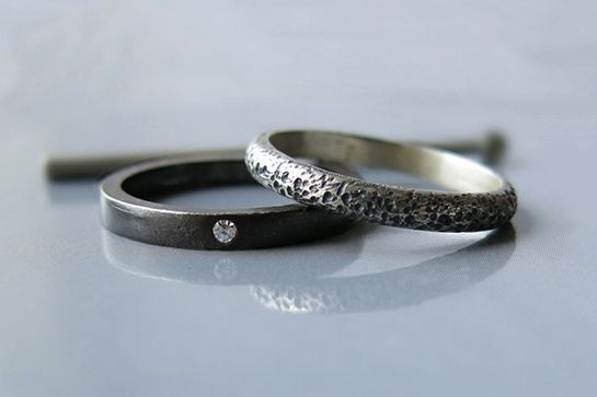 The Coolest Wedding Bands From Etsy  #refinery29  http://www.refinery29.com/etsy-wedding-bands#slide-8  Oxidized bands for the cool couple that prefers black on black.