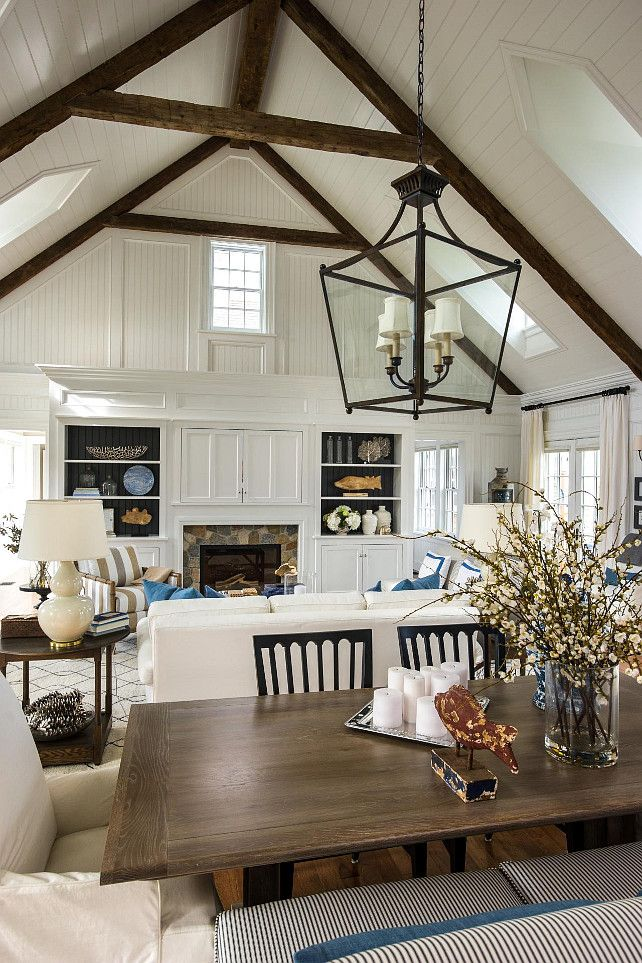 A Gorgeous White Paint Job Unites The Kitchen Dining Room And Great In HGTV Dream Home While High Ceilings Rustic Antique Beams Show Off