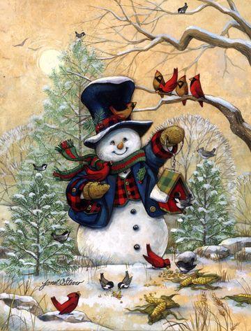 Winter Friends by Janet Stever ~ Christmas ~ snowman ~ cardinals