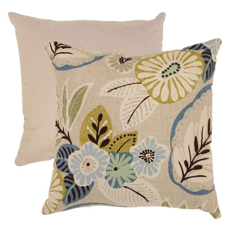Have to have it. Pillow Perfect Beige and Blue Tropical Throw Pillow - 18 in. - $16.32 @hayneedle