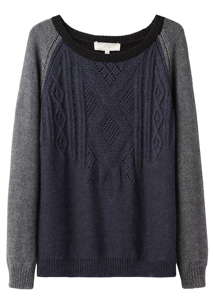 VANESSA BRUNO ATHÉ /  Two-tone gray and navy cable knit sweater