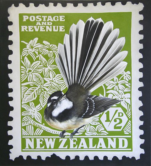 Fantail Stamp - by Jane Crisp Note card from Image Vault Ltd