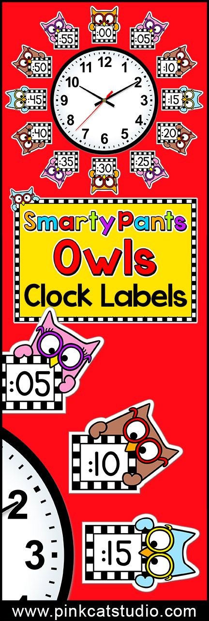 Smarty Pants owls Clock Labels and Student Worksheets: These fun owl theme labels will look fantastic around your classroom clock! Student worksheets are included so your kiddos can practice telling time. By Pink Cat Studio.
