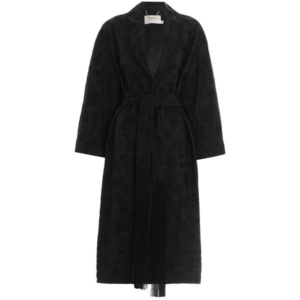 ZIMMERMANN Maples Embroidered Robe Coat (7.555 BRL) ❤ liked on Polyvore featuring outerwear, coats, fringe coat, tie belt, oversized collar coat, collar coat and embroidered coat